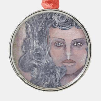 Athena el gris adorno navideño redondo de metal