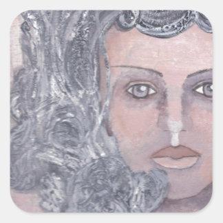 Athena el gris pegatina cuadrada