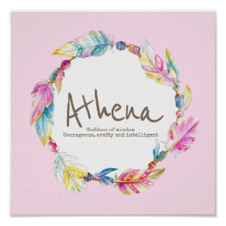 Athena feather and beads wreath name meaning poster