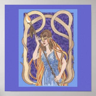 Athena observado búho póster