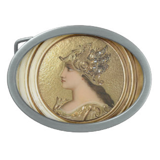 ATHENA PORTRAIT WITH GOLDEN HELMET AND GRYPHONS OVAL BELT BUCKLE