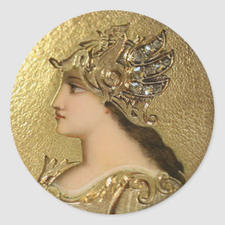 ATHENA PORTRAIT WITH GOLDEN HELMET AND GRYPHONS CLASSIC ROUND STICKER
