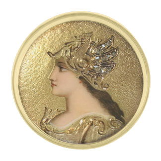 ATHENA PORTRAIT WITH GOLDEN HELMET AND GRYPHONS GOLD FINISH LAPEL PIN