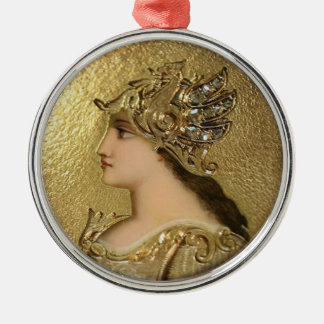 ATHENA PORTRAIT WITH GOLDEN HELMET AND GRYPHONS METAL ORNAMENT