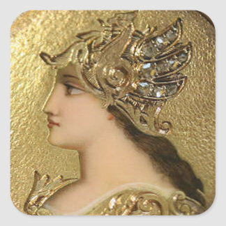 ATHENA PORTRAIT WITH GOLDEN HELMET AND GRYPHONS SQUARE STICKER