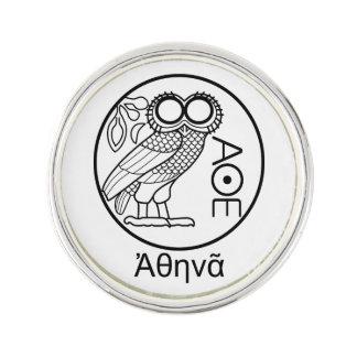 Athena's owl tetradrachm (Greek Font) Lapel Pin
