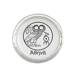 Athena's owl tetradrachm (Greek Font) Photo Rings