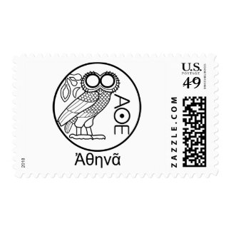 Athena's owl tetradrachm (Greek Font) Postage