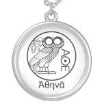 Athena's owl tetradrachm (Greek Font) Silver Plated Necklace