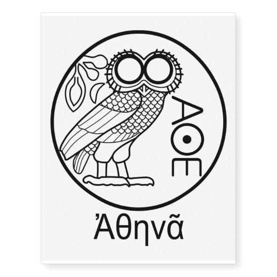 Athena S Owl Tetradrachm Greek Font Temporary Tattoos