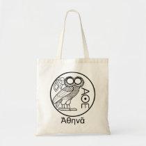 Athena's owl tetradrachm (Greek Font) Tote Bag