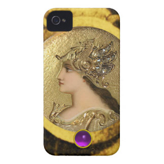 ATHENA WITH FANTASY GRIFFINS AND PURPLE GEMSTONE Case-Mate iPhone 4 CASES