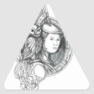 Athena with Owl on Shoulder Electronic Circuit Cir Triangle Sticker