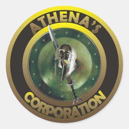 athena's corporation staff products classic round sticker