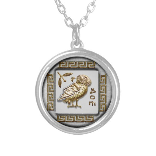athena's owl silver plated necklace