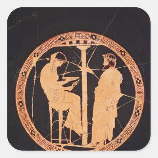 Athenian red-figure kylix depicting Aegeus Square Sticker