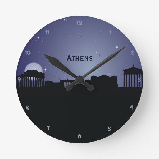 Athens CityScape Night Silhouette Wall Clock