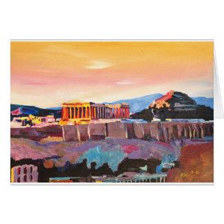 Athens Greece Acropolis At Sunset Card