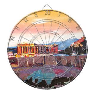 Athens Greece Acropolis At Sunset Dartboard With Darts