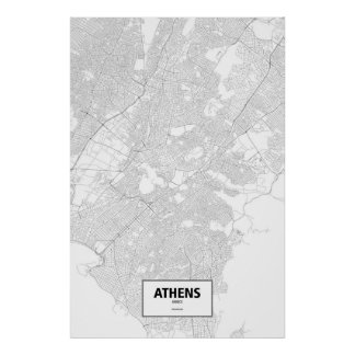Athens, Greece (black on white) Poster