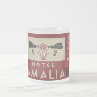 Athens Greece Hotel Amalia Vintage Travel Label Frosted Glass Coffee Mug