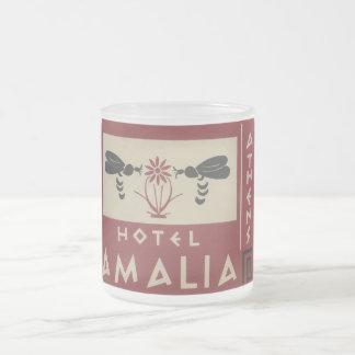 Athens Greece Hotel Amalia Vintage Travel Label 10 Oz Frosted Glass Coffee Mug