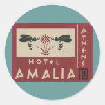 Athens Greece Hotel Amalia Vintage Travel Label Sticker