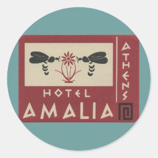 Athens Greece Hotel Amalia Vintage Travel Label Classic Round Sticker
