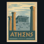 """Athens, Greece Postcard<br><div class=""""desc"""">Anderson Design Group is an award-winning illustration and design firm in Nashville,  Tennessee. Founder Joel Anderson directs a team of talented artists to create original poster art that looks like classic vintage advertising prints from the 1920s to the 1960s.</div>"""