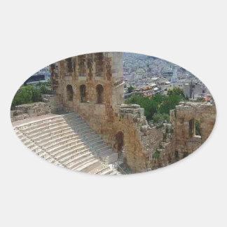 Athens Greece the Colosseum Oval Sticker