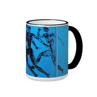 Athens Marathon Blue Print Mugs