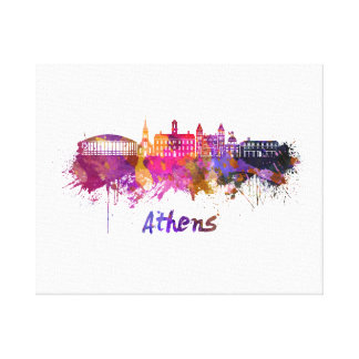 Athens OH skyline in watercolor Canvas Print