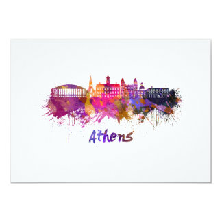 Athens OH skyline in watercolor Card
