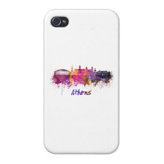 Athens OH skyline in watercolor iPhone 4 Cover