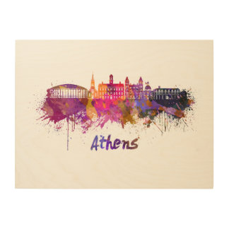 Athens OH skyline in watercolor Wood Wall Art