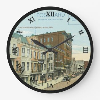 Athens Ohio Post Card Clock