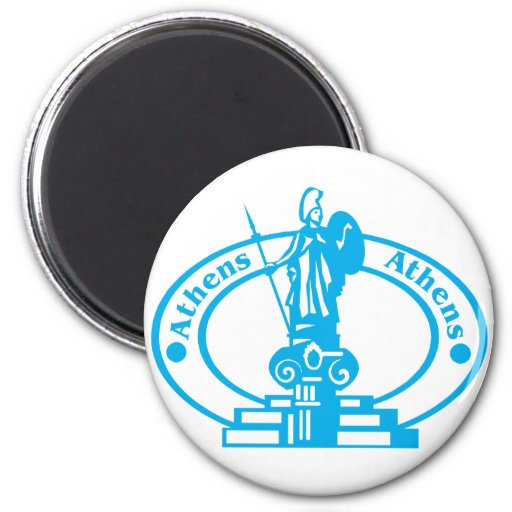 Athens Stamp 2 Inch Round Magnet