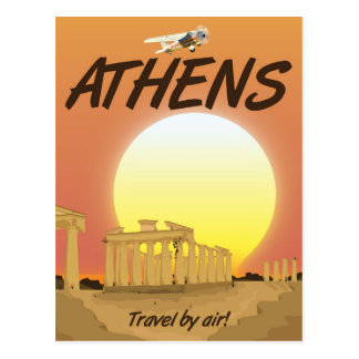 """Athens """"Travel by air"""" Golden Sunset Postcard"""
