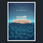 """Athens Vintage Travel Poster<br><div class=""""desc"""">Vintage style travel poster of a Athens at night,  inspired by the travel posters of the 1920s. Text reads Visit Athens. Original hand drawn and digitally rendered illustration by Henry Rivers for Travel Poster Co.</div>"""