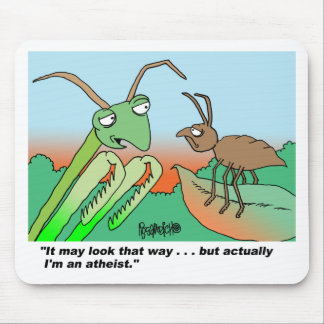 Athiest praying mantis mouse pad