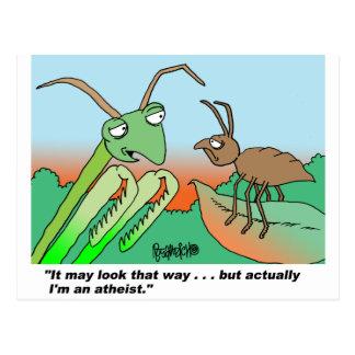 Athiest praying mantis postcard
