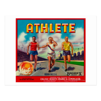 Athlete Brand Citrus Crate Label Post Card