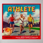 Athlete Brand Citrus Crate Label Poster