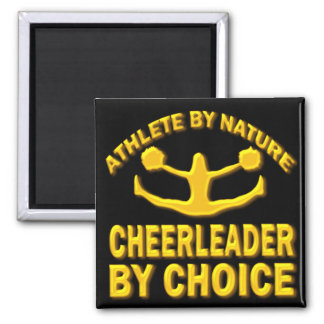 ATHLETE BY NATURE CHEERLEADER BY CHOICE 2 INCH SQUARE MAGNET