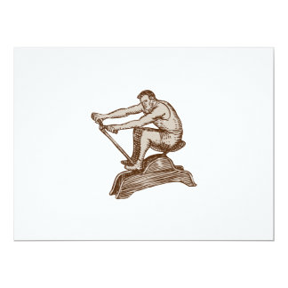 Athlete Exercising Vintage Rowing Machine Etching 6.5x8.75 Paper Invitation Card