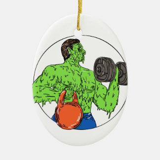 Athlete Fitness Dumbbell Kettlebell Grime Art Ceramic Ornament