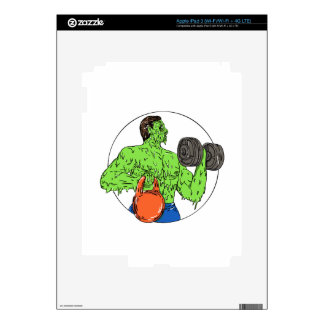 Athlete Fitness Dumbbell Kettlebell Grime Art Decal For iPad 3