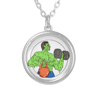 Athlete Fitness Dumbbell Kettlebell Grime Art Silver Plated Necklace