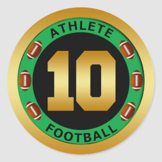 ATHLETE - FOOTBALL NUMBER 10 CLASSIC ROUND STICKER