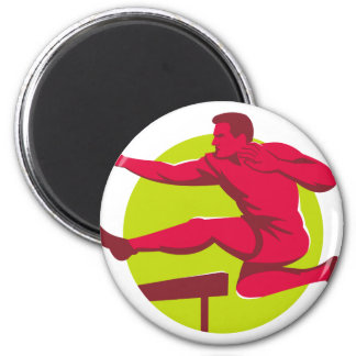 Athlete Jumping Hurdles 2 Inch Round Magnet